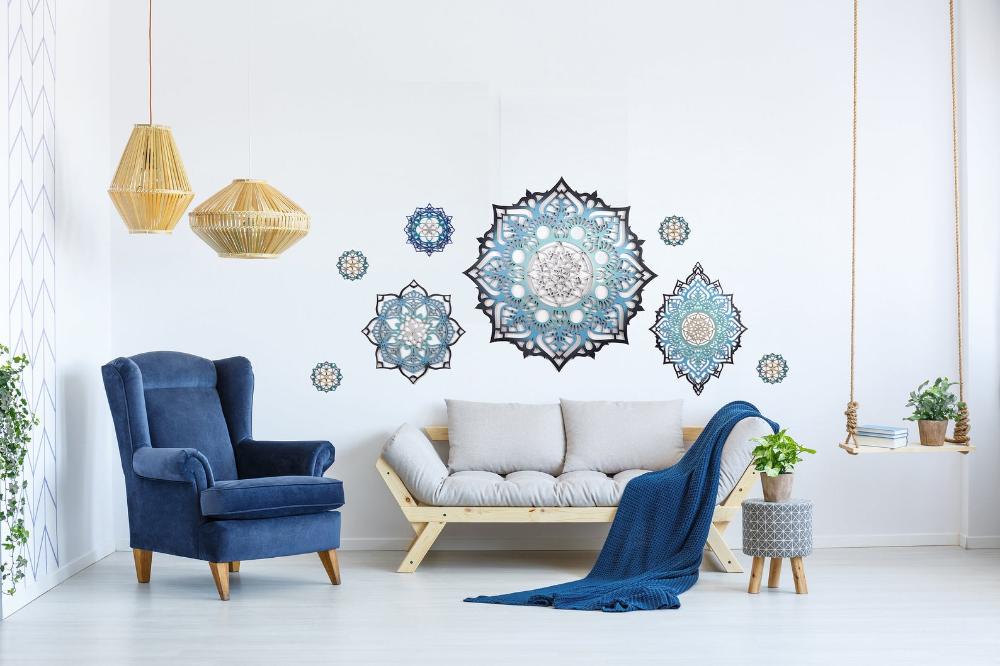 Mandala Wall Decor Set Living Room Decor Wood Decor Etsy In 2020 Wall Decor Bedroom Living Room Decor Blue Wall Decor