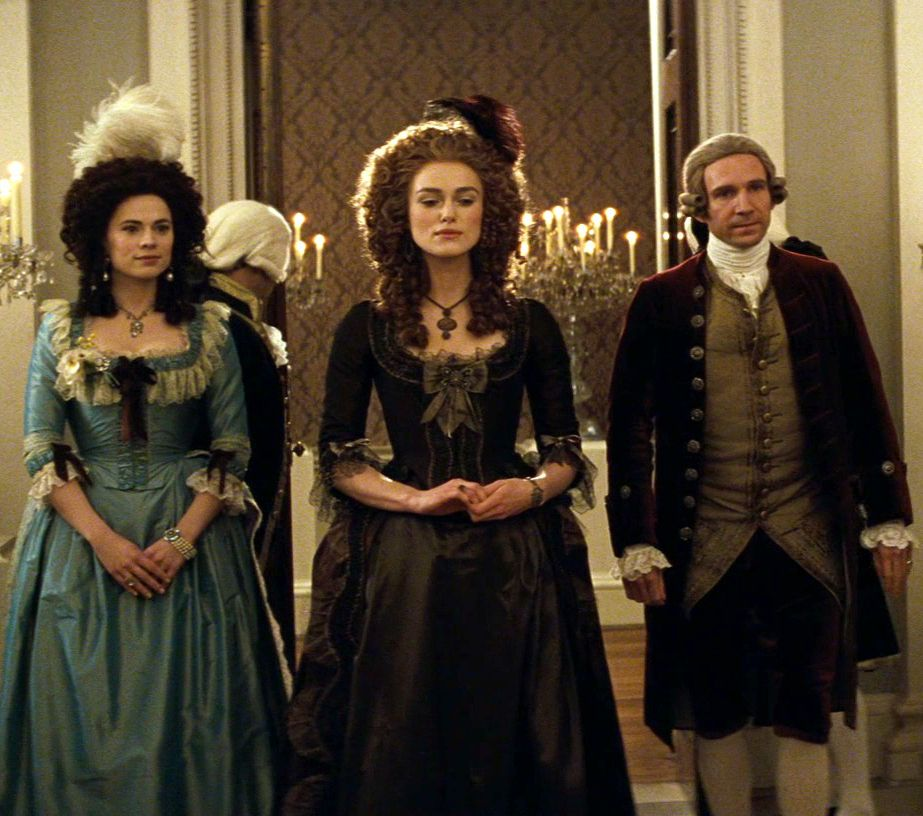 Bess Foster (Hayley Atwell), Georgiana (Keira Knightley) & The Duke (Ralph Fiennes) 'The Duchess' 2008. Costumes designed by Michael O'Connor.