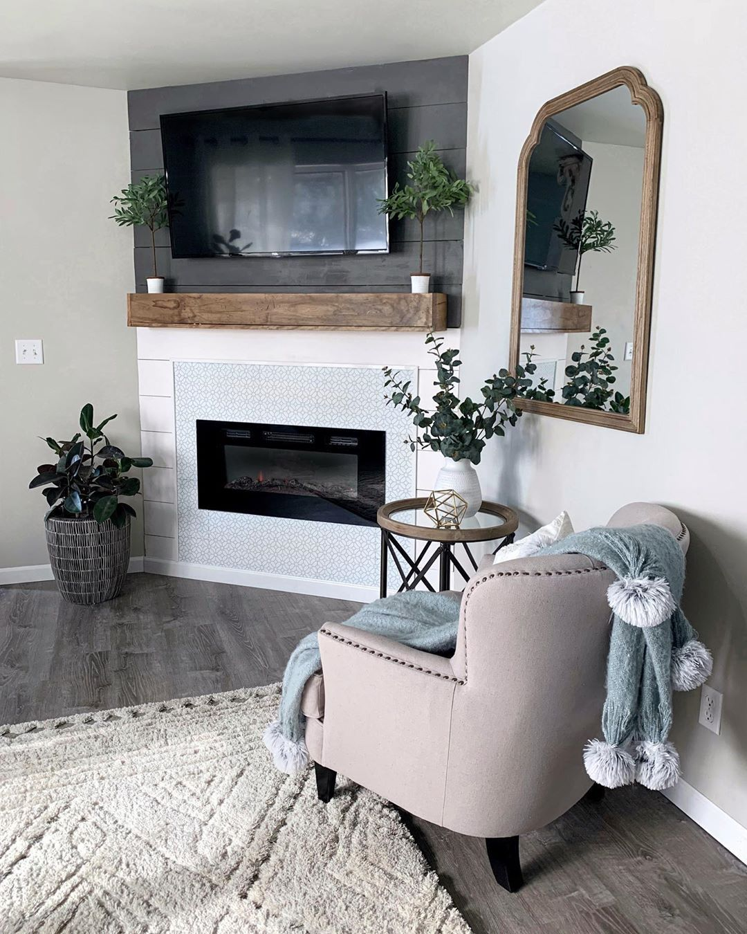 Chelsea On Instagram Built In Tv Wall Fireplace Is Done This Was An Empty Co Corner Fireplace Living Room Living Room Corner Farmhouse Fireplace Decor