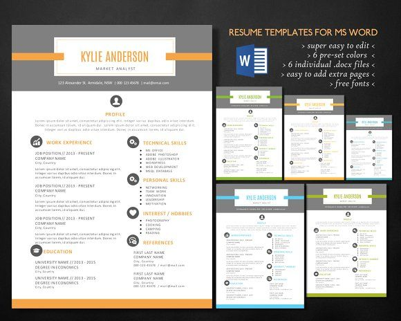 Unique 2 in 1 Word resume by Inkpower on @creativemarket Beautiful