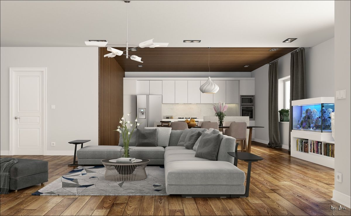 Modern Living Room Wood Floor