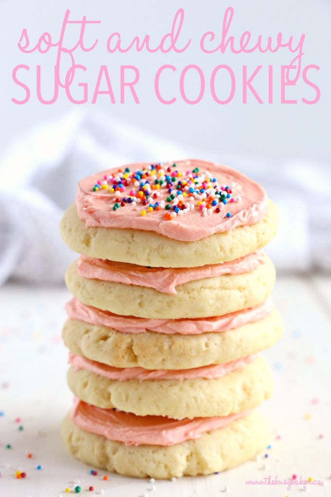 Soft and Chewy Frosted Sugar Cookies - The Busy Baker