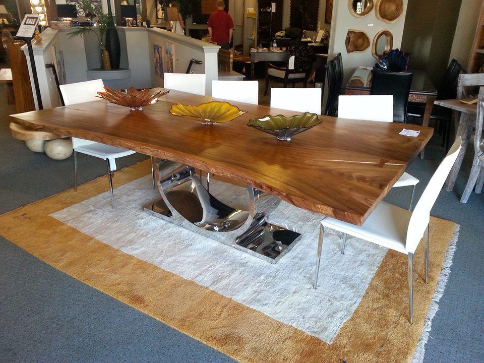 98 long monsoonwood plank table with omega chrome base