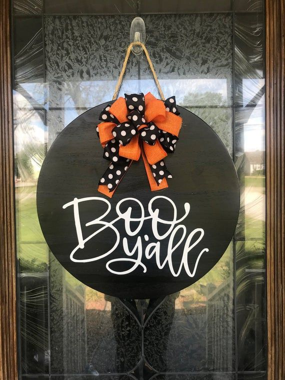 Halloween Wreath, Halloween Door Hanger, Boo Y'all Sign,Halloween Decor, Front Door Decor, Halloween Door Sign, Front Door Sign, Wreath #halloweendoordecor