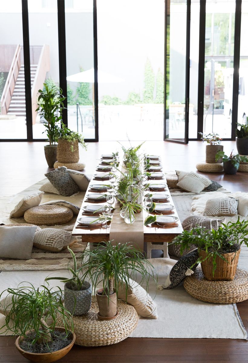 A Modern Botanical Dinner Party Floor Seating Party Setup Decor