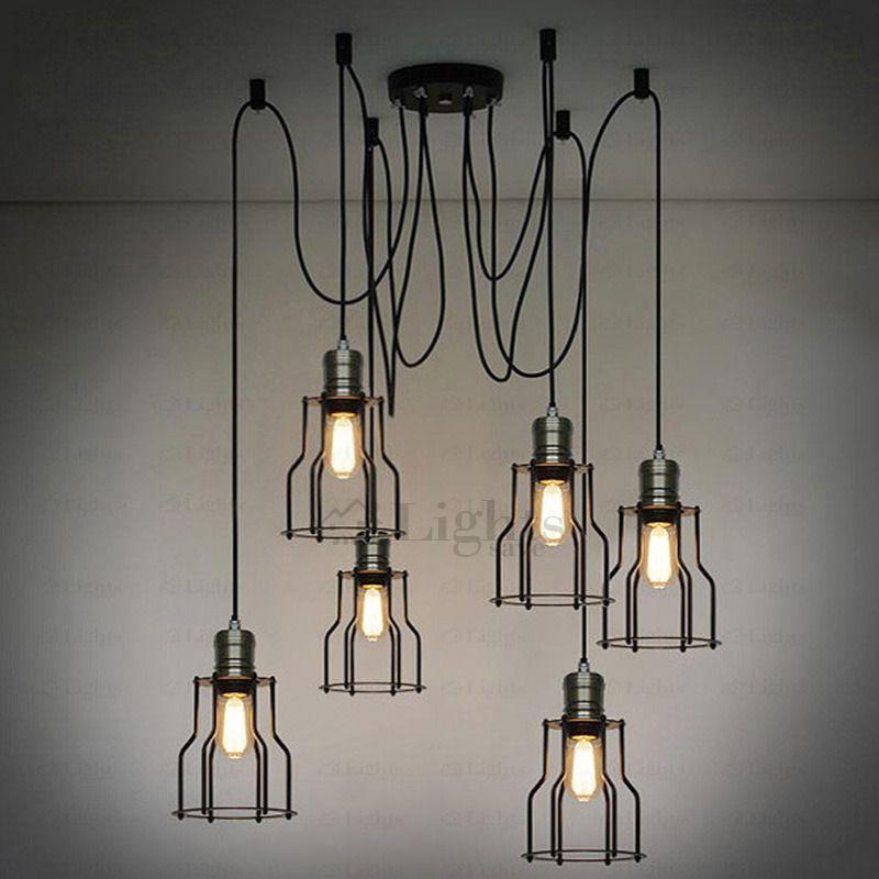 industrial lighting chandelier. vintage 6light industrial chandelier lighting loft wrought iron e