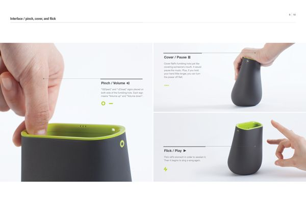 Rafl - an interactive speaker that allows users to select music through various motions such as flicking, pinching, and covering. on Industrial Design Served