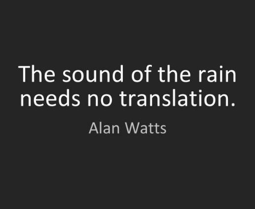 The sound of rain needs no translation. -Alan Watts