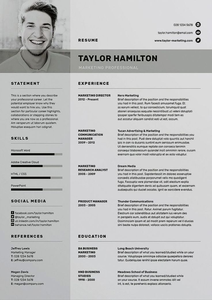 Skilled Resume template / CV template with free Cowl