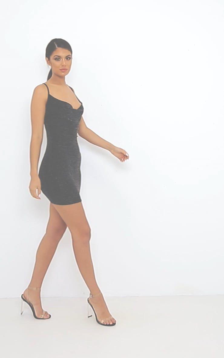 Black textured glitter cowl neck bodycon dress image