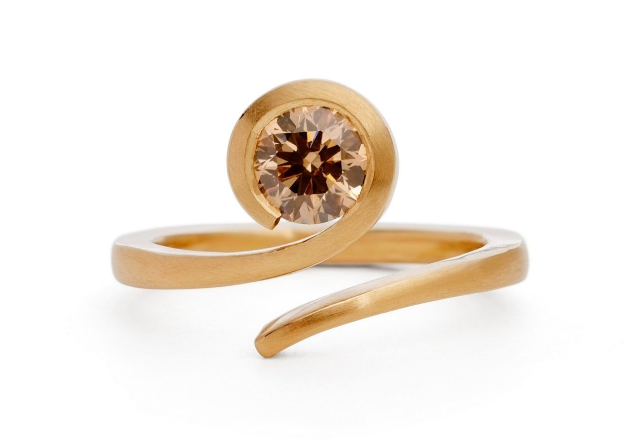 Twist 18 Carat Rose Gold And Round Cognac Diamond Engagement Ring