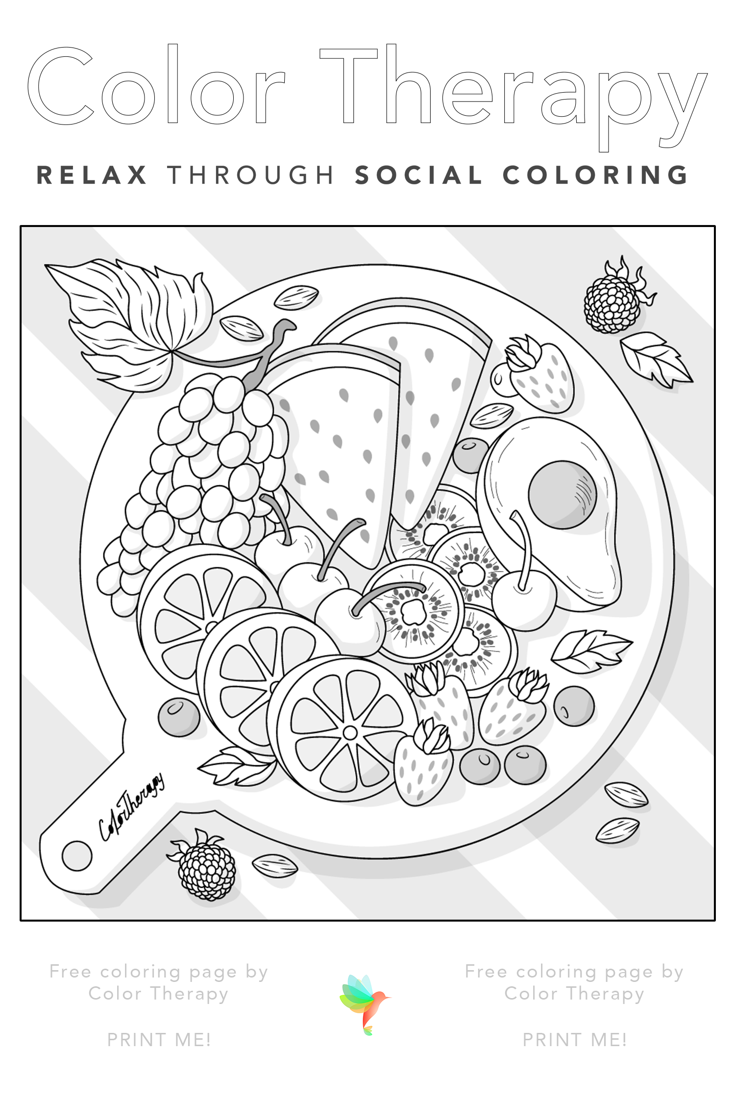 Color Therapy Gift Of The Day Free Coloring Template Cute Coloring Pages Color Therapy Bird Coloring Pages