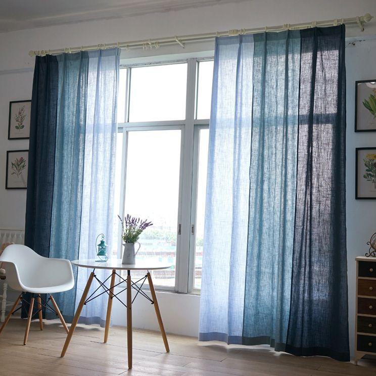 Blau Baumwolle Textur Amerikanischen Land Stil Dekorative Tuch Vorhang  Leinen Stoff Vorhänge Für Wohnzimmer Cortinas Sheer Tüll In Blau Baumwolle  Textur ...
