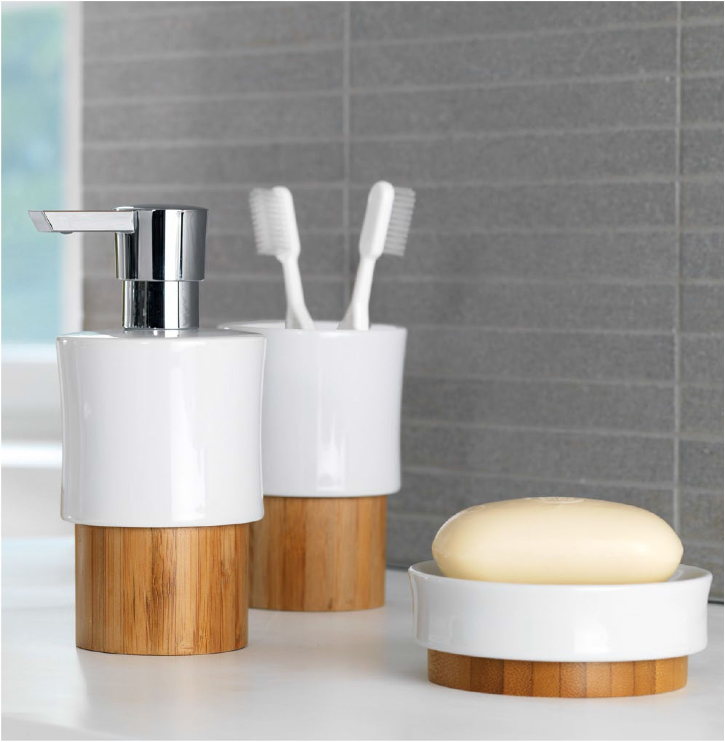 Stoneware bathroom accessories -  Spirella Fjord Bamboo Bathroom Accessories Bathroom Bamboo