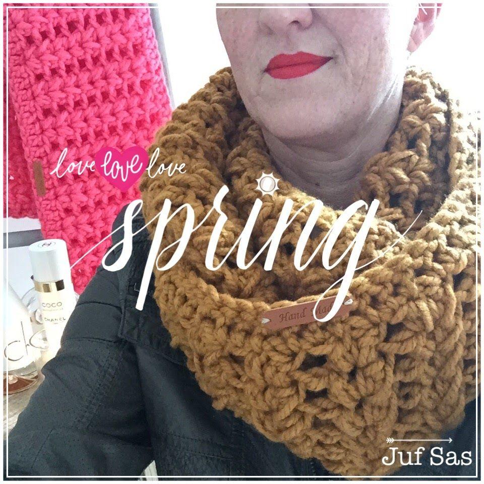 Vlog 7 Gehaakte kol \'Spring\' handmade by juf Sas met gratis patroon ...