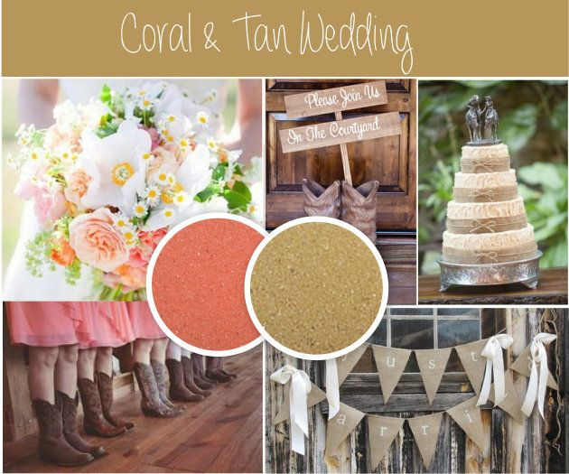 Coral And Tan Make A Great Color Combination For Rustic Chic Fall Wedding