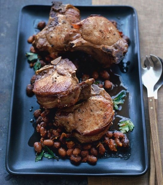 Pork Chops with Cranberry Beans and Thyme