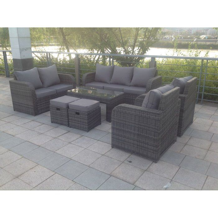 Rattan 5 Seater Sofa Set: Arnold 9 Seater Rattan Sofa Set With Cushions