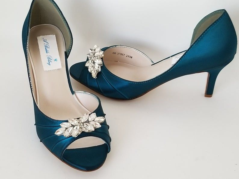 Teal Bridal Shoes Teal Wedding Shoes With Crystal Applique Etsy In 2020 Teal Wedding Shoes Kitten Heel Wedding Shoes Wedding Shoes Pumps