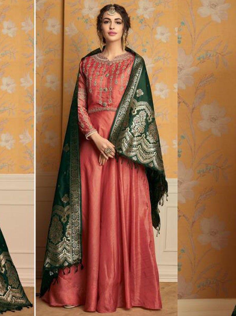 f5bc7e4588 Latest Indian Designer Peach Crush Embroidered Anarkali Suit With Banarsi  Dupatta