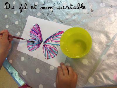 Du fil et mon cartable : feutre + eau = effet aquarelle explications ici   Fête des pères ...