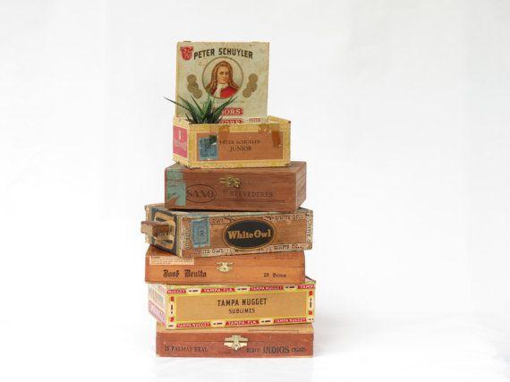 Vintage Cigar Box Stack  Old Cigar Boxes  by ArmoryArtandAntiques