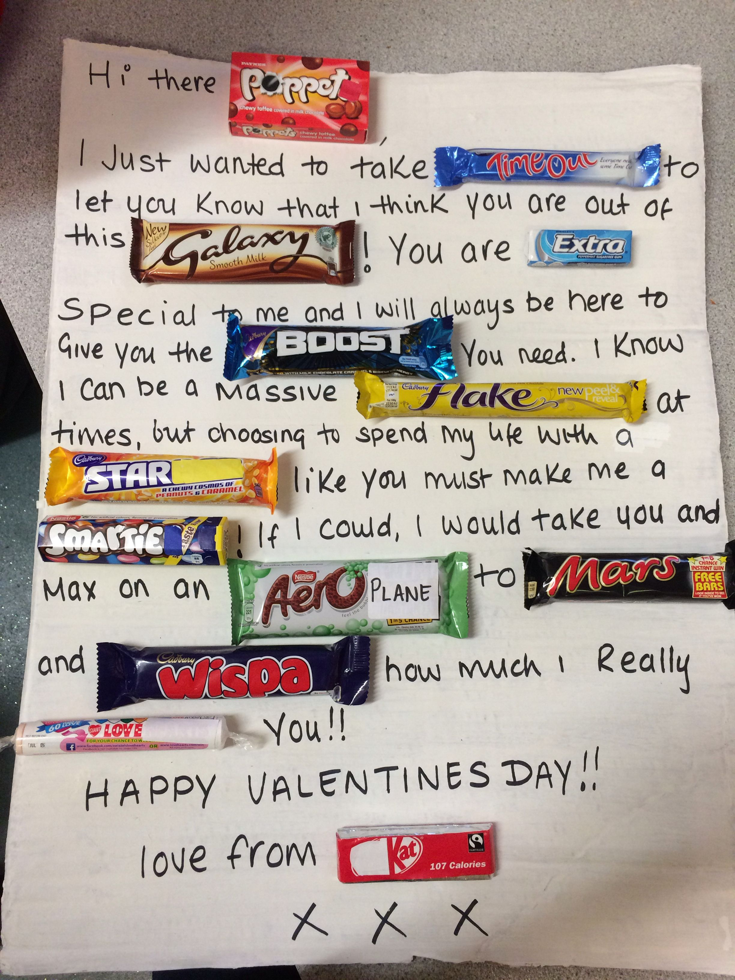 my chocolate bar valentines card to my man