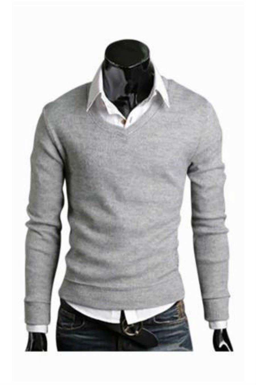 Slim Fit Light Grey V-Neck Sweater in 2019  e9e94d6035