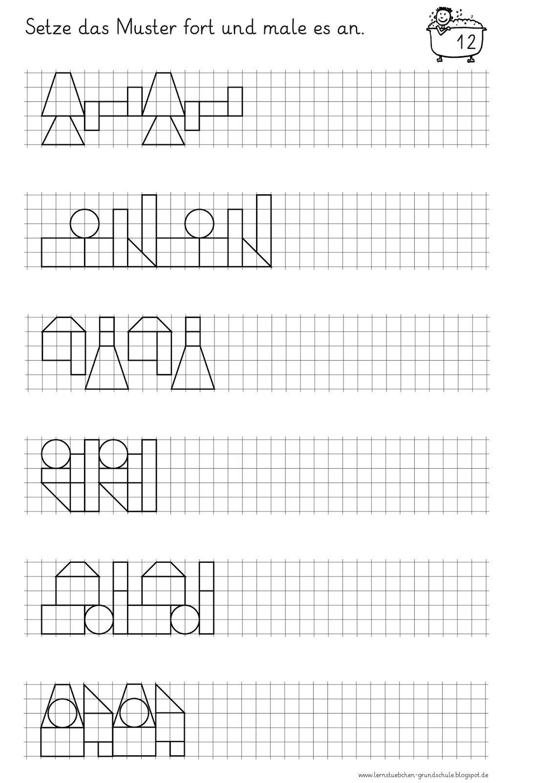 AB+Muster+fortsetzen+und+anmalen+9+bis+12-4.jpg (1091×1600) | 3 ...