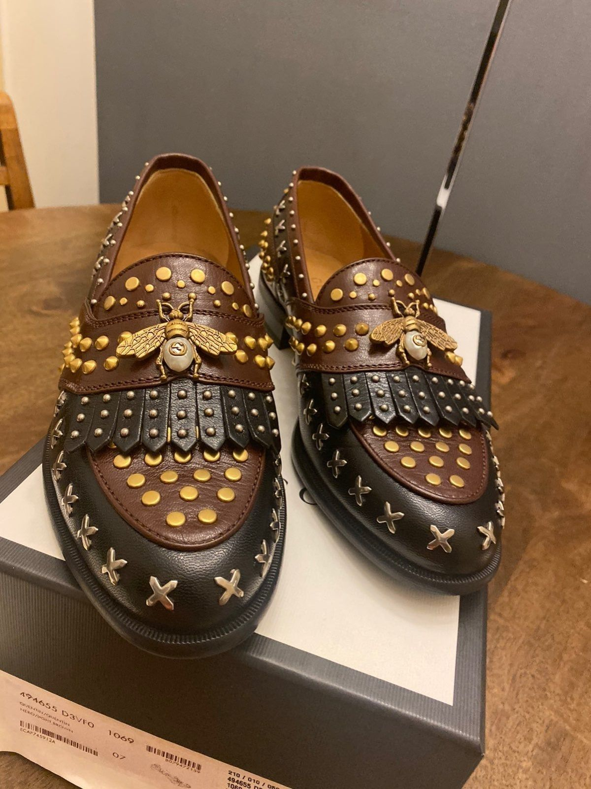Gucci studded rivet loafers in 2020
