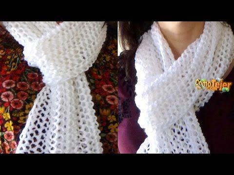 bufanda o chalina tejido a crochet en punto espuma de mar paso a ...