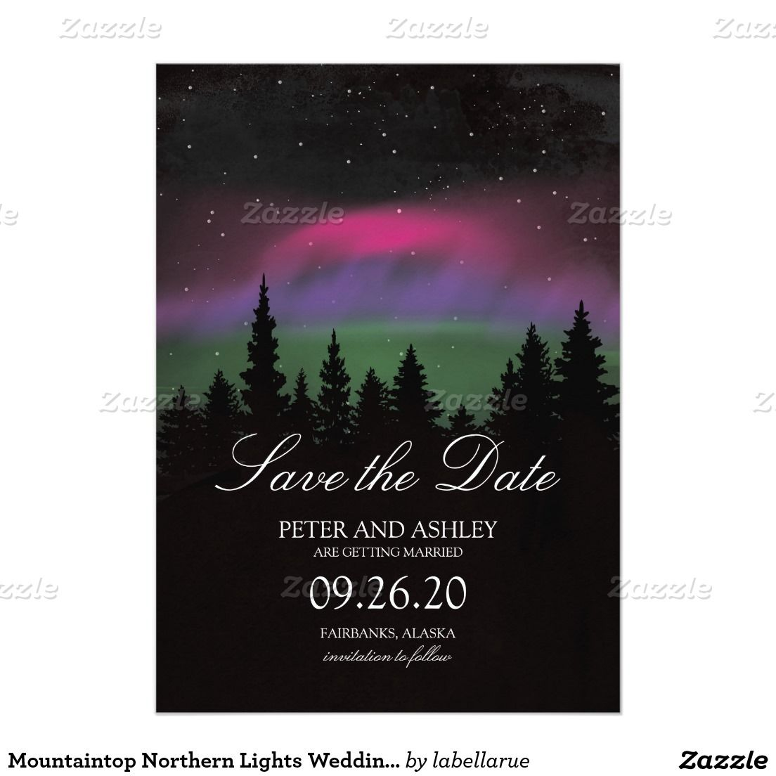 Mountaintop Northern Lights Wedding Save the Date Zazzle