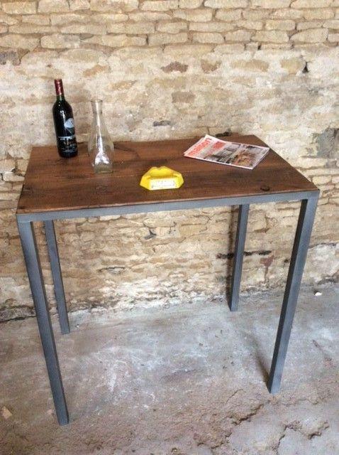 Table Haute Bois Et Metal Par Deco Indus A Caen Table A Manger Industriel Table Haute Bois Table A Manger
