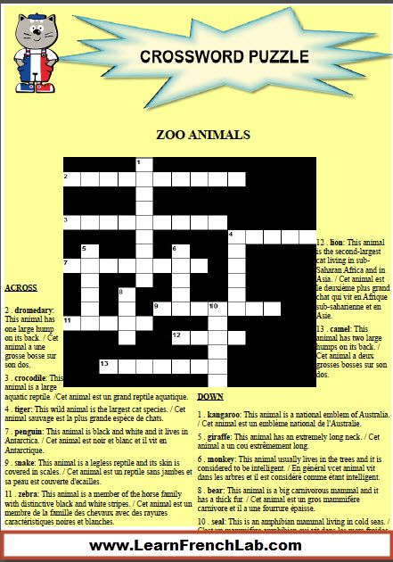 Learn zoo animals in French with this free printable crossword ...