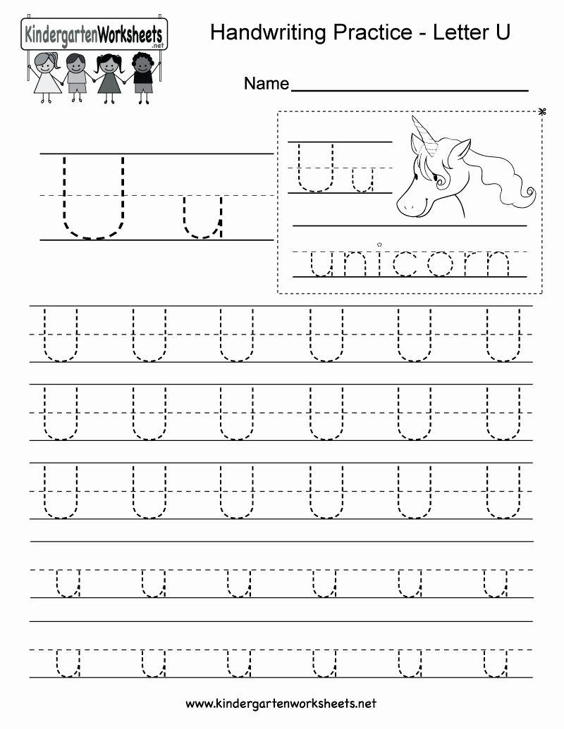 Letter U Preschool Worksheet in 2020 Writing practice