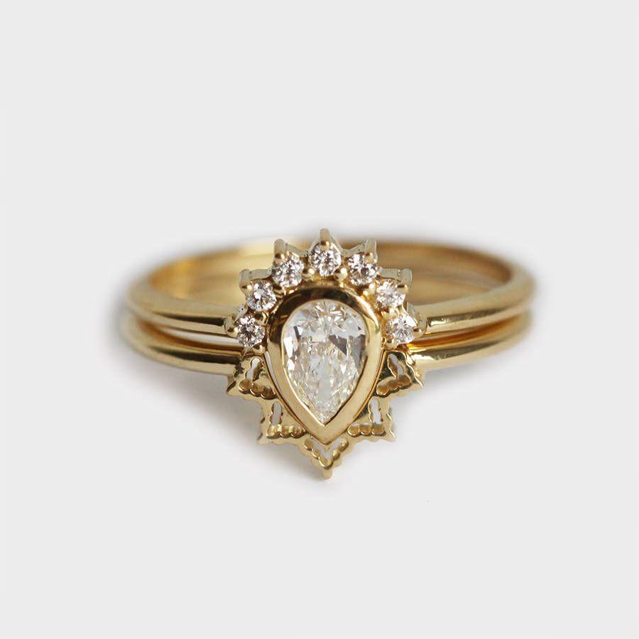 Engagement ring set diamond ring bridal ring set k gold ring