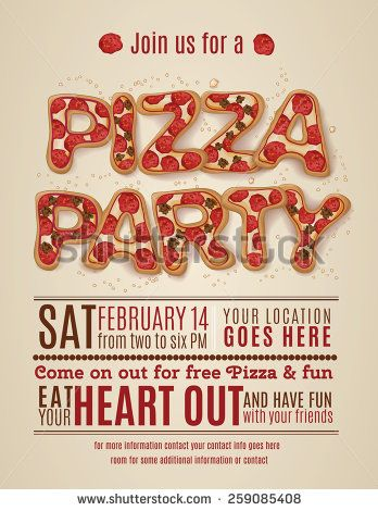 vector pizza party flyer invitation template design - stock vector - flyer invitation templates free