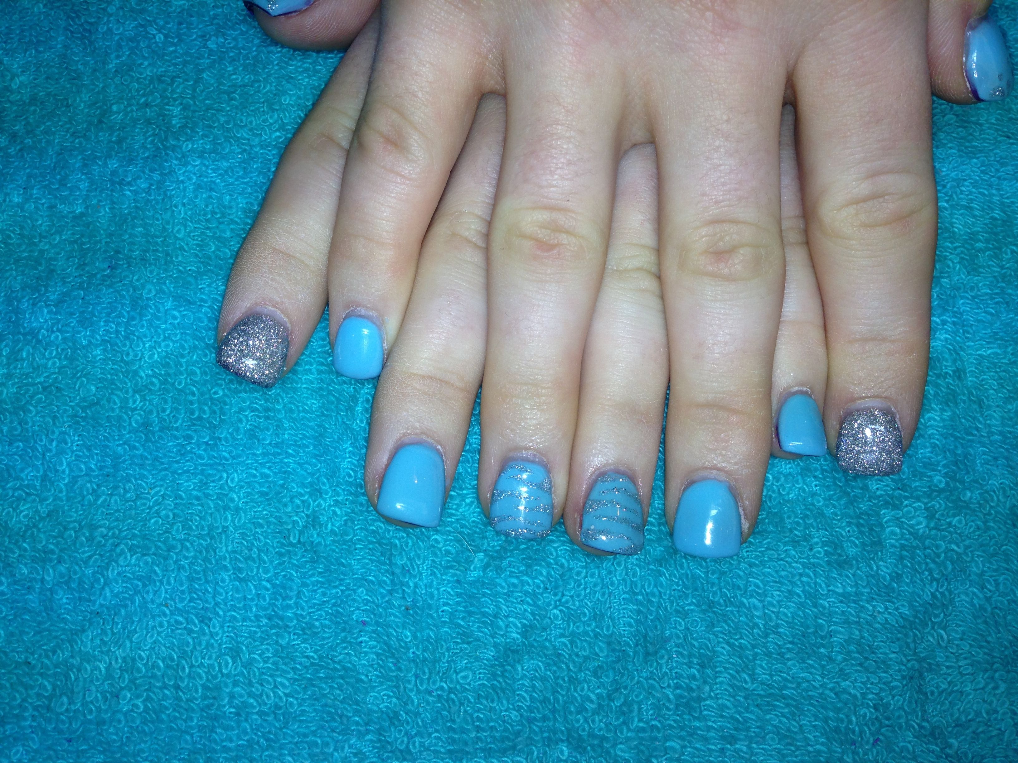 Pale blue with silver tiger stripes, cheetah print thumbs, and ...