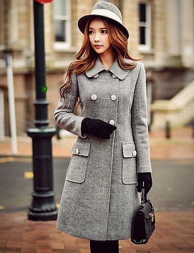 aab0e6aa96de3 Feminino Casaco Informal   Casual   Trabalho estilo antigo   Moda de Rua    Sofisticado Outono   Inverno