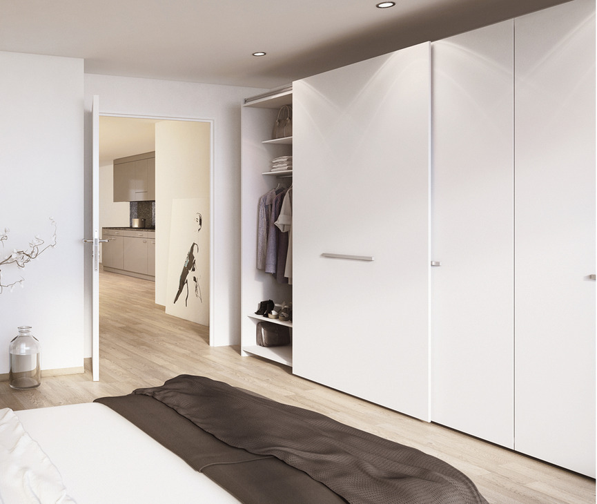 Complete Fitting Set For Sliding Cabinet And Wardrobe Doors Eku Frontino 40 Fs Hafele U K Shop Wardrobe Doors Bedroom Cabinets Flush Doors