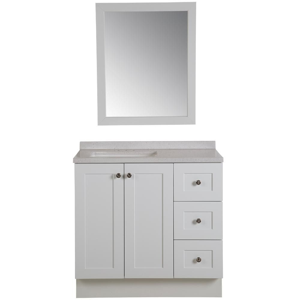 Glacier Bay Bannister 36 50 In W Vanity In White With Solid