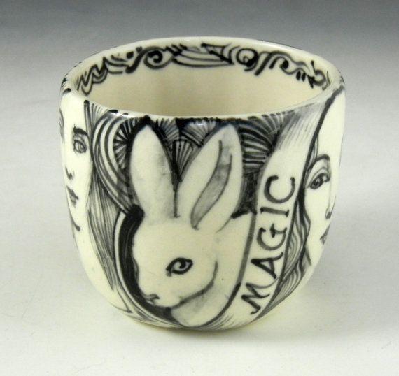Black and white porcelain tea bowl