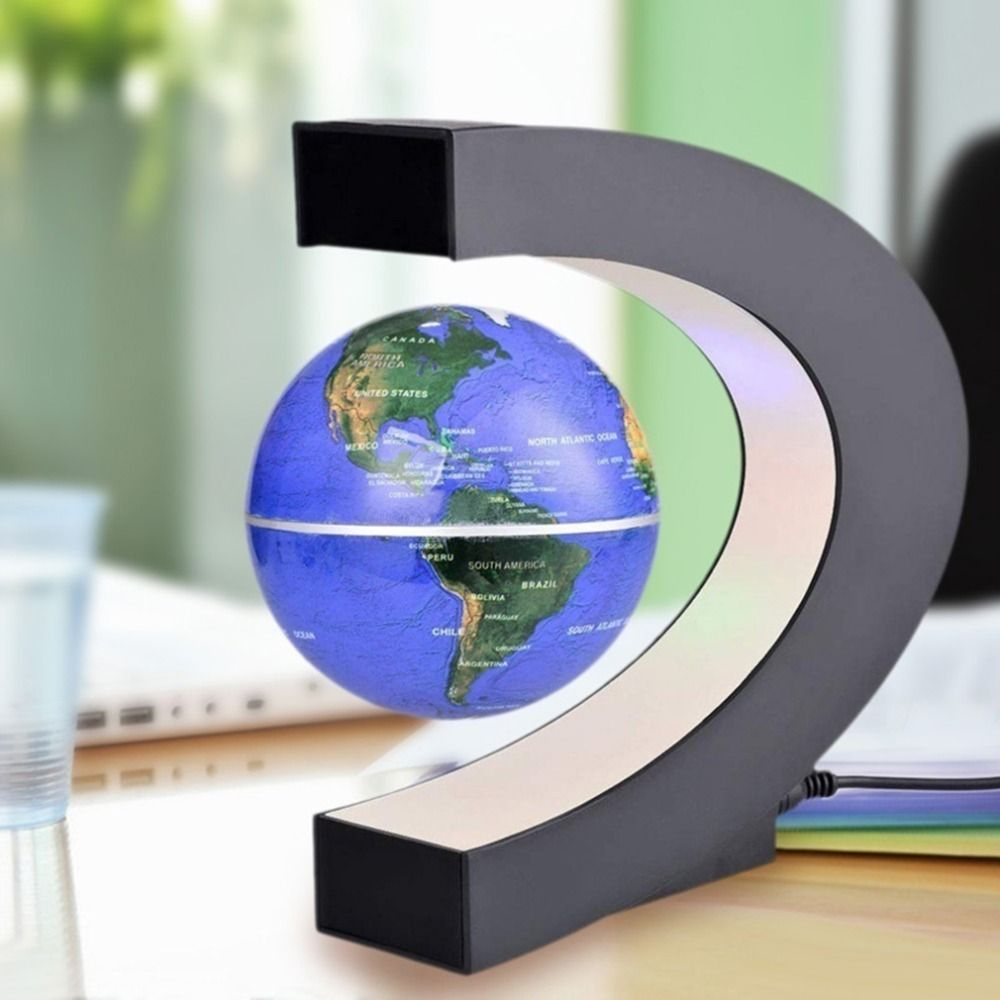 Magnetic Floating Globe Levitation C-Shape LED World Map Home Decor Lighting
