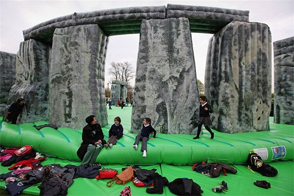 Inflatable Stonehenge. While it's not as mysterious as the actual Stonehenge, you can safely bounce off the rocks in this 1:1 interactive sculpture from Jeremy Deller, on display at Glasgow's Int'l Festival of Visual Arts.