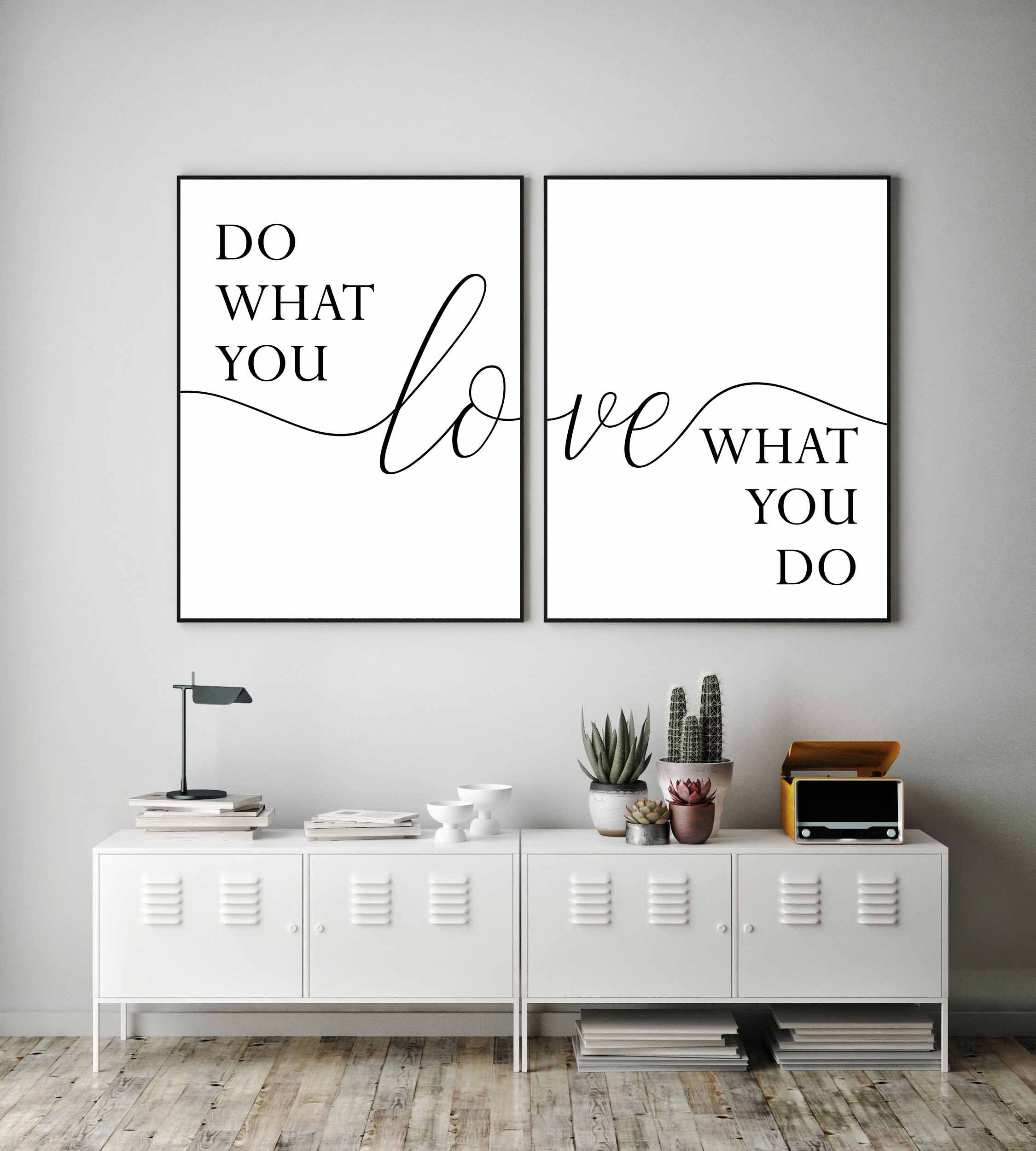 Do what you love love what you do,Printable wall art,Set of two prints,Quote prints,Office wall decor,Modern wall art,Large poster,Set of 2