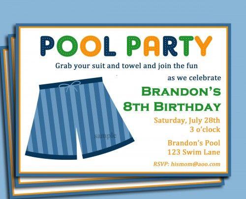 Boys Pool Party Invitation Printable - Swim Trunk Party Invite - birthday invitation swimming party