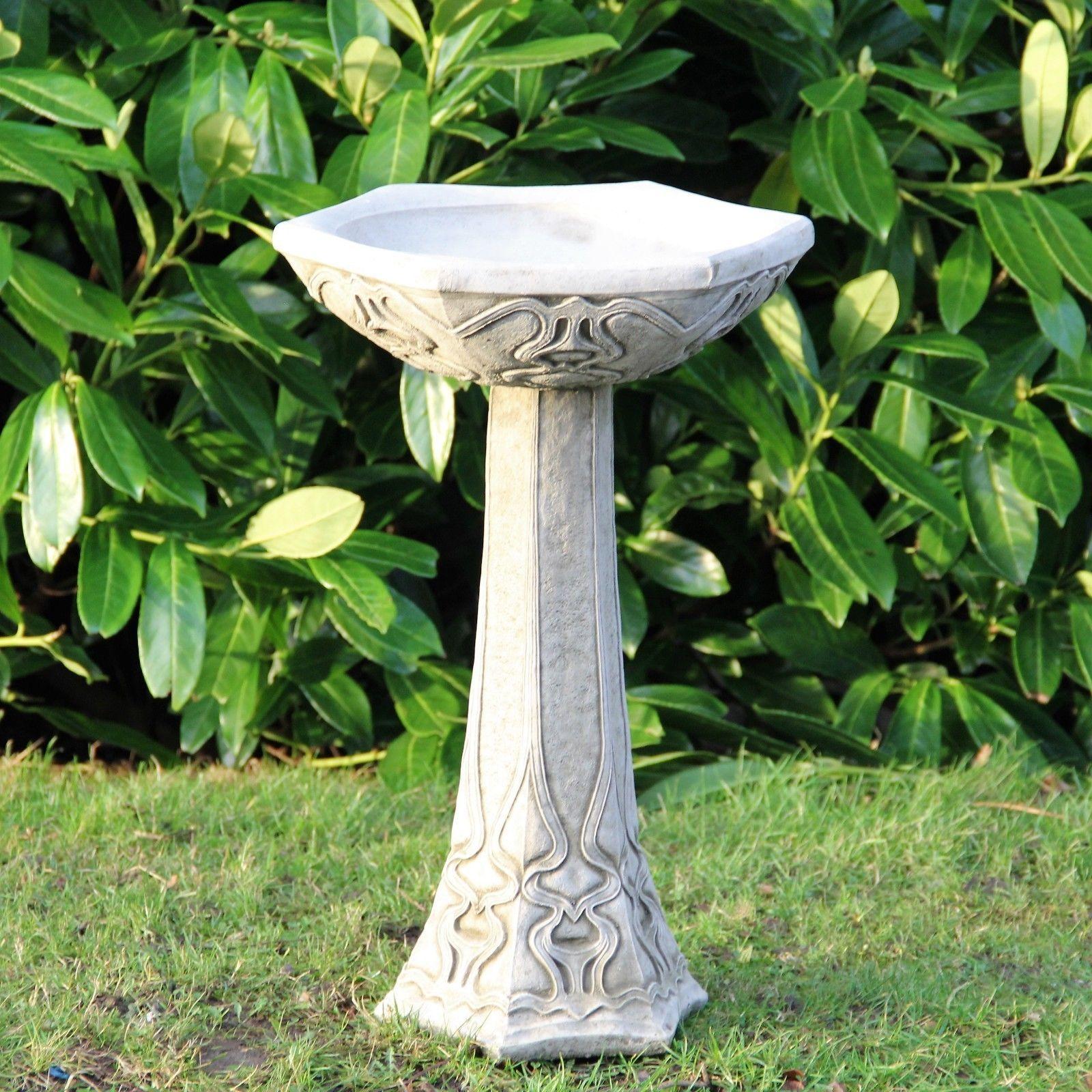 #modern Cast Stone #birdbath In The Art #nouveau Style Water Garden Decor  Classic