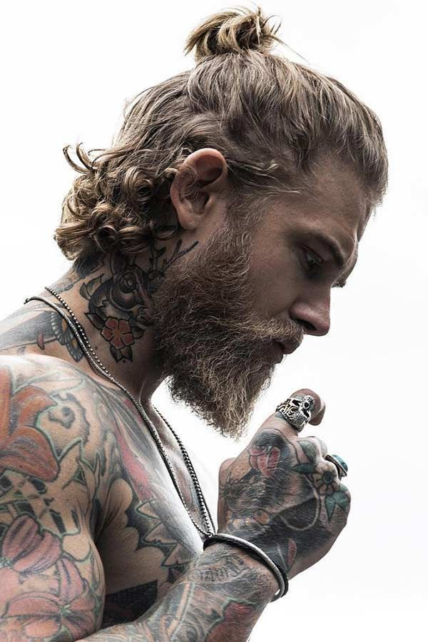 Spizoiky Skull Ring Man Ponytail Curly Hair Men Beard Hairstyle