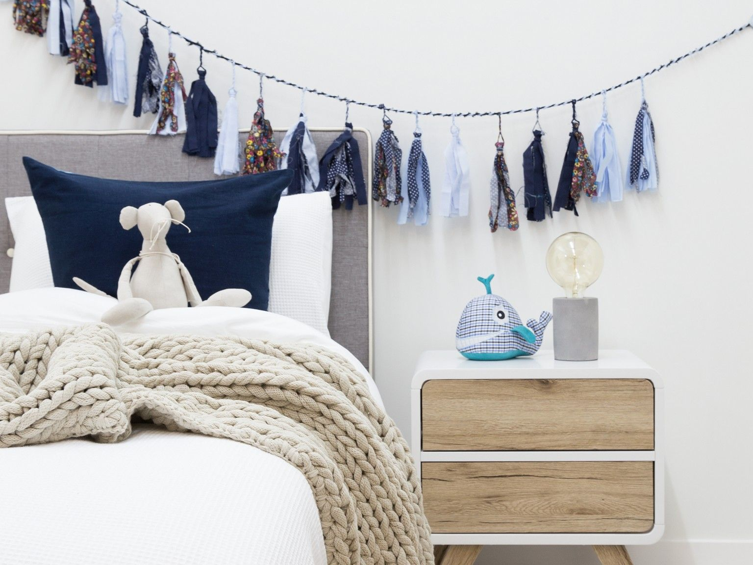 Kids Bedroom Bunting mocka mod headboard - single white with kennedy two drawer