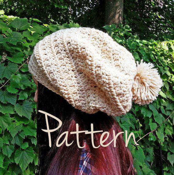 Crochet Pattern Slouchy Beanie Pom Pom Winter Fall Autumn Hat ...